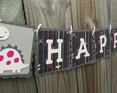 Happy Birthday Banner and Name Banner Combo Pink Dinosaur Theme Personalized