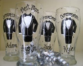 Seven Hand Painted Groomsmen Personalized Bridal Wedding  SEVEN Glasses