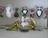 Wedding  Hand Painted Wine Glasses Personalized- Bride Groom Bridesmaids