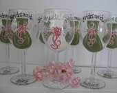 Bridesmaid TWO  Wine Glasses Bride Groom Hand Painted Bridal Party Personalized Glasses