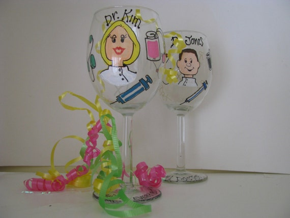 Doctor NP PA Wine Glass Personalized Hand painted Medical Professions