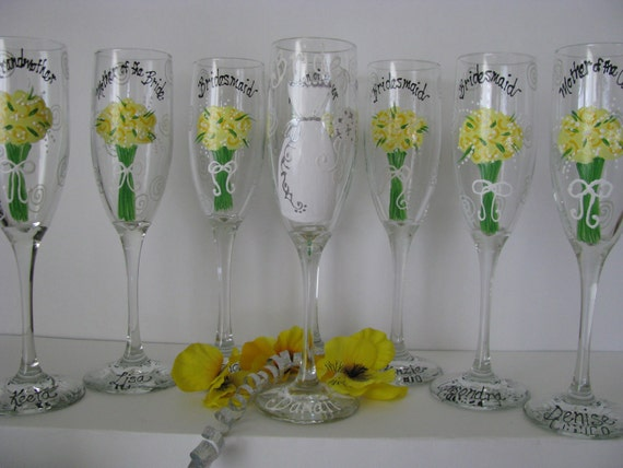 TEN Hand Painted  Glasses Wedding  Bride Bridesmaid  personalized Glass