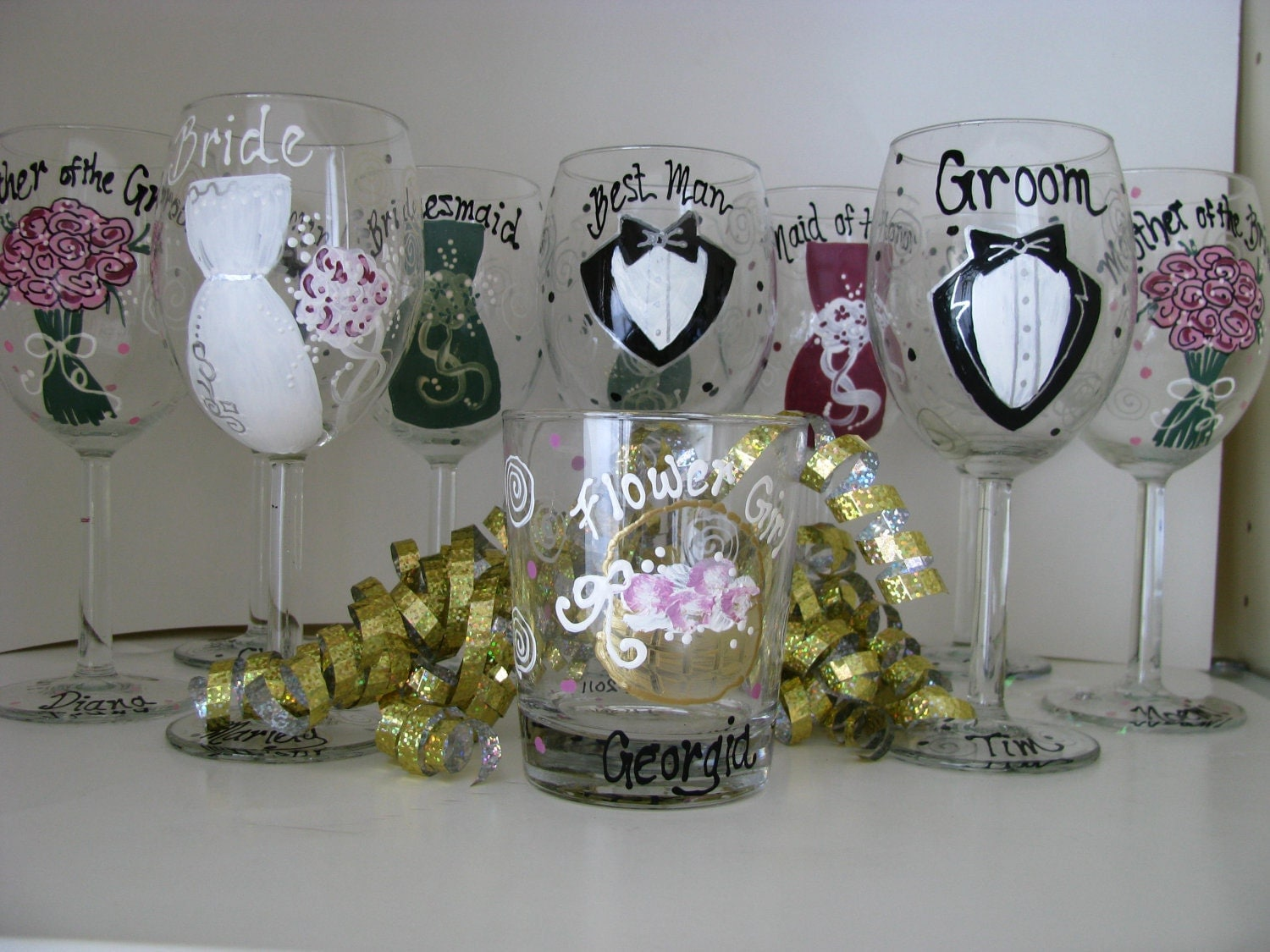 Items similar to wedding hand painted wine glasses personalized bride