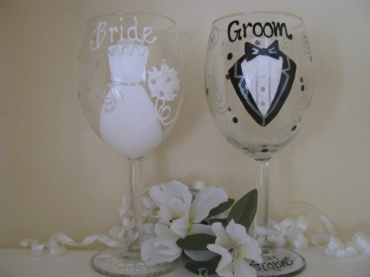 bride and grooma pair of hand painted wedding wine by