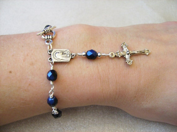 Black and Blue Czech Glass Rosary Bracelet in Silver Car Rosary Pocket Rosary