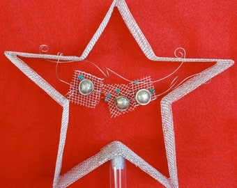 Silver Star Tree Topper with star buttons and turquoise