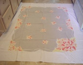 Vintage Peach and Grey Flowers Floral Tablecloth Large 68 inches Midcentury Kitchen Dining