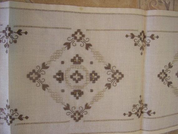 Hardanger Embroidered Runner Doily Handmade Brown Creamy Table Home Decor