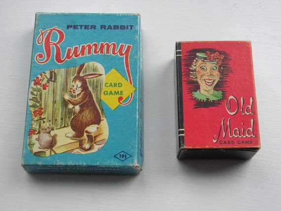 Vintage card games Old Maid miniatures and Peter Rabbit rummy great graphics Ephemera