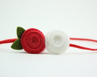 Baby Headband Felt Flower Headband - Strawberry Red and White Flowers