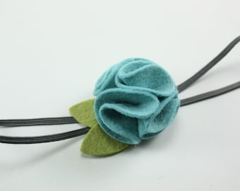Teal and Gray Felt Flower Headband - Baby Headband - Newborn Girl Headband - Toddler Headband