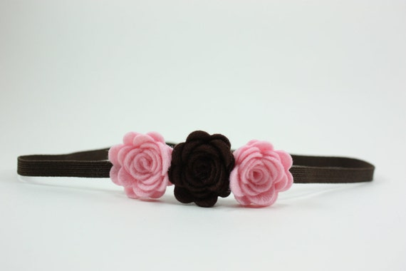 Felt Flower Headband Pink Brown- Baby Headband- Toddler Headband- Girls Headband- Women Headband