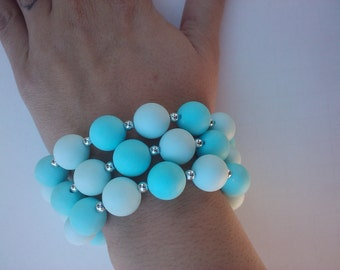 Bright Blues - Vintage 25 inch Baby Blue and aqua plastic beaded necklace 1/2 inch blue beads with Spring Ring clasp