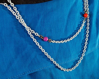 Adorable White Chain and Gold Necklace With Colorful Plastic balls Orange and Purple Infinity Chain Simple Bright Variety of ways to wear it