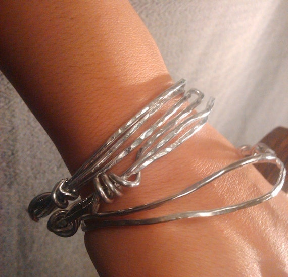 Silver-tone hammered wire wrapped Aluminum bracelet hypalus Listia Fans Get it Here
