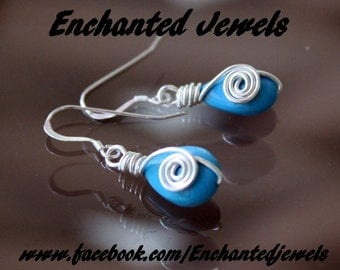 silver plated non tarnish wire wrapped Turquoise earrings