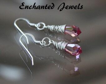 Sterling Silver Pink swarovski Crystal earrings