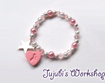 Personalized Crystal / Pearls Bracelets with Initial Charm -  elastic string, with packaging
