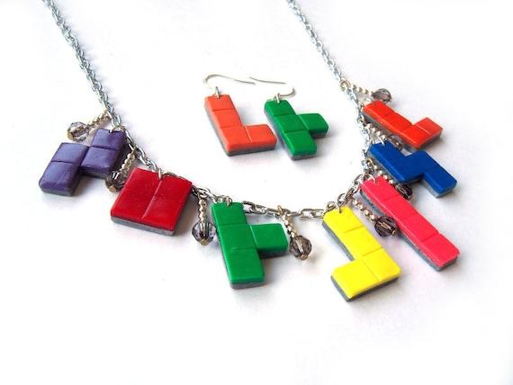 Rainbow Tetris Ploymer Clay Jewellery Set - Necklace and Earrings