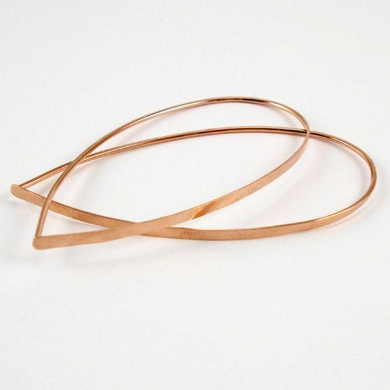 Flat Front Rose Gold Hoop Earrings, Large Teardrop Hoops, Threader Earrings
