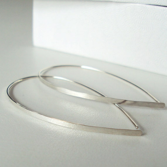 Flat Front Sterling Silver Hoop Earrings, Large Teardrop Hoops