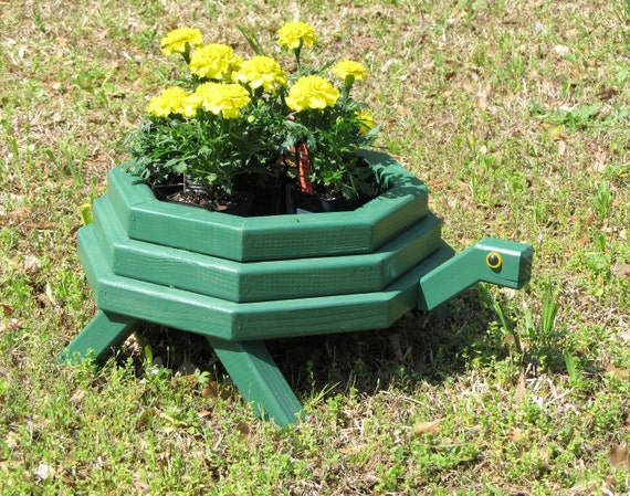 Wooden Turtle Planter