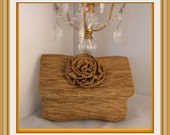 Antique gold Clutch with flower, 20PERCENT OFF, FREE S/H