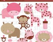 Girl Safari Animals Personal and Commerical Use Vector Clipart Set - INSTANT DOWNLOAD