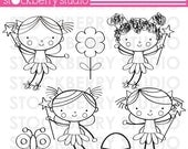 Stick Figure Fairies Digital Stamp Set