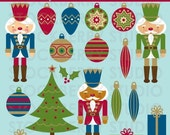 Nutcracker Clipart Set - SALE 25% OFF - Christmas Tree Ornaments Digital Image - Nutcracker Personal and Commerical Use Clipart Set