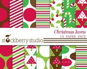 Christmas Icon Digital Scrapbooking Paper Pack - Instant Download