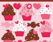 Cupcake Valentine's Day Clipart Set - Cupcakes Digital Image - Sweet Valentine Clipart Set