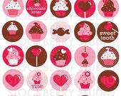 "Valentine Cupcake 1.5"" Digital Collage Sheet - PDF"