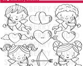 Valentine Cupid Digital Stamp Set - Instant Download - Valentine's Day Digital Clipart Set
