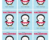 Penguin Valentine's Day Card Printable - Kids Valentines Card - Valentine Printable - Personalized Valentines Cards - Kids Valentine Cards