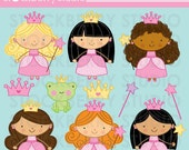 Stick Figure Princess Frog Personal and Commercial Use Clipart Set  - Instant Download