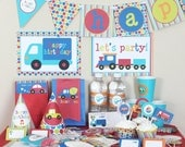 Transportation Birthday Party Decorations - Boy Birthday Party - Printable Party Kit - Planes Trains Automobiles Party - Instant Download