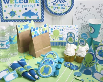 Under The Sea Birthday Decorations Printable - Under The Sea Party Decor - Instant Download - Boy Under the Sea 1st Birthday Party Package