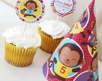 Monkey Birthday Party Decorations Printable - Instant Download - Five Little Monkeys Party Package - First Birthday - Jungle Party