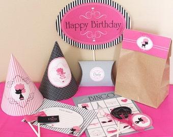 Paris Birthday Party Decorations Printable - Paris Poodle Birthday Decorations - Instant Download - Paris Party Decorations  - Pink Birthday