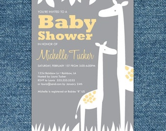 Giraffe Baby Shower Invitation Printable - Yellow and Gray Baby Shower Invites - gender neutral baby shower invitations - Yellow and Gray