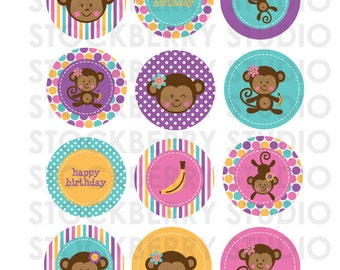Girl Monkey Birthday - Printable Favor Tags - Girl Monkey Cupcake Toppers Printable - Instant Download - Monkey Party Favors - Gift Tags