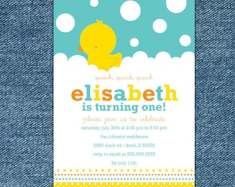 Rubber Ducky Birthday Invitation Printable - Rubber Ducky 1st Birthday Invites - Aqua Blue Yellow - First Birthday Invitation Boy