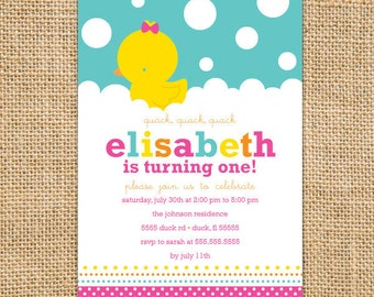 Rubber Ducky Birthday Invitation Printable - Rubber Duck Invitations - Girl Birthday Party - First Bbirthday Invites - Pink Yellow Aqua Blue