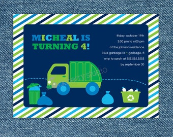 Garbage Truck Birthday Invitation - Garbage Truck Party Invite Printable - Boy Birthday Party Invitation - Trash Truck - Dump Truck party