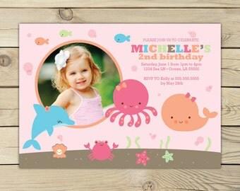 Girl Under the Sea Birthday Invitation Printable - Ocean Birthday - Pool Party Invites - Beach Birthday Party - Girl 1st Birthday Party