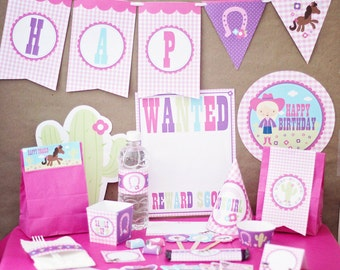 Cowgirl Birthday Party Decorations Printable - Pink Birthday Decorations - Instant Download - Western Birthday Party - Girl 1st Birthday