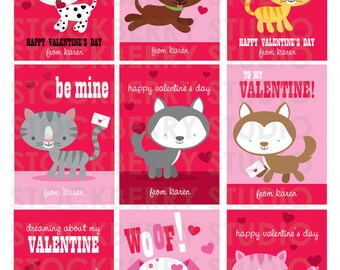dog valentines card cats valentine card personalized kids valentines kids class valentines