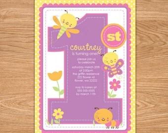 Butterfly 1st Birthday Invitation Printable - butterfly first birthday invitation - butterfly birthday invitation - butterfly birthday party