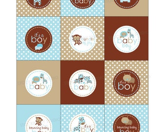 Boy Baby Shower Favors Printable - Jungle Animals Blue Baby Shower Favor Tags - Instant Download - Brown Blue Baby Shower Cupcake Toppers